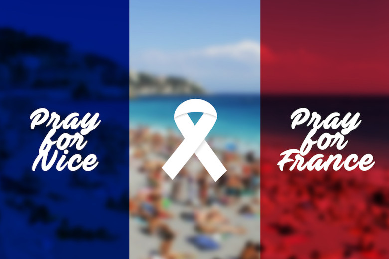 Pray for Nice Flag. World support for Nice. Nice terror attack on 14 July 2016; Shutterstock ID 452809846; PO: nice
